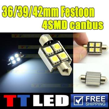 2 X Canbus No Error Festoon Dome 31mm 36mm 39mm 42mm 4 SMD 5050 LED Car indicator Reading License plate led lamp 12V White #TK17