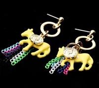 Korean jewelry the latest popular style neon horse tassel earrings free shipping, 5pair/lot