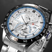 CURREN Vogue Quartz Hour White Dial Date Clock Sport Mens Stainless Steel Wrist Watch