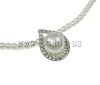 Free shipping!!!Glass Pearl Necklace,australian, with Zinc Alloy, Teardrop, platinum color plated, with rhinestone, nickel