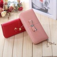 New 2014 metal bow single zipper pendant long design women wallets pu leather bags purse clips carteira feminina,Free shipping