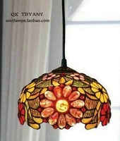 8 Inch Tiffany Pendant Lamps Hanging Chain Cafe Decorative Lights Can Be Adjusted Sunflowers