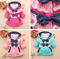free shipping 2014 new autumn children cotton top longsleeve jacket baby girl cute bowknot lace dot jacket kid hoodies 4pcs/lot