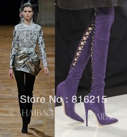 Hot Selling Sexy Super Model Same Design Genuine Leather Cut-out Over Knee High Heel Boots