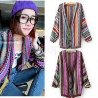 Q459 Vintage Boho Ladies Women Long Sleeve Colorful Wave Stripes v-neck Knit Tops Blouse Sweatshirt Cardigans Outerwear Casual