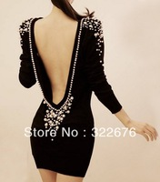2013 New Women's Sexy Long Sleeves Vogue Beading Embellished Backless Dress Deep Grey/Black WH12122016