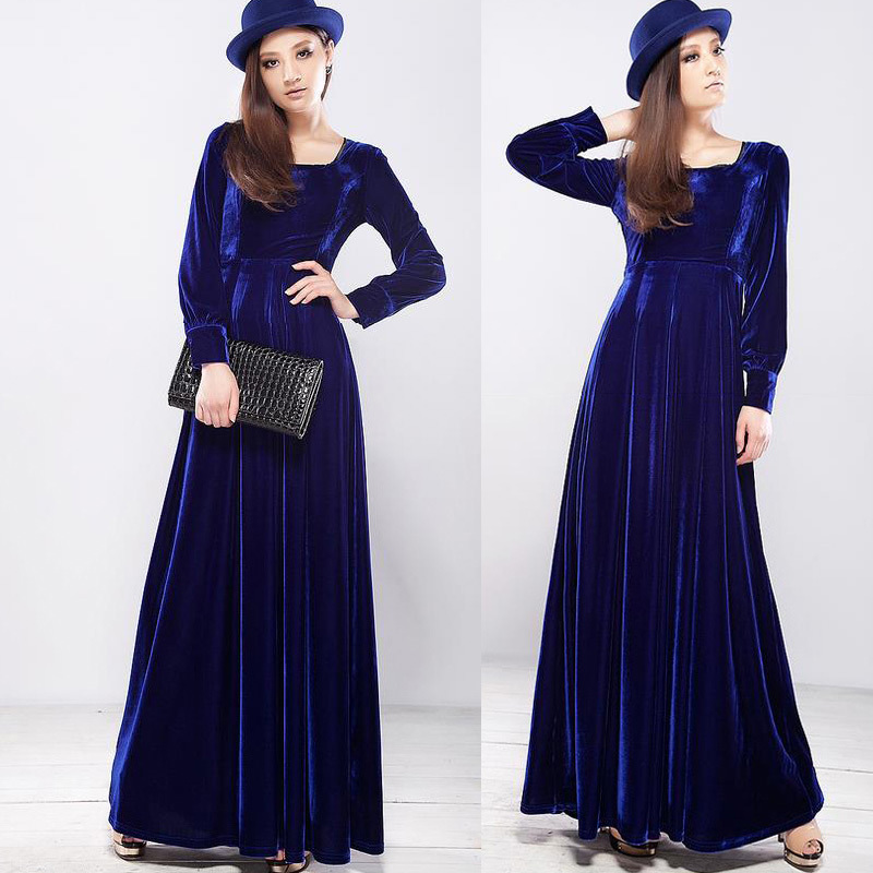 Long Sleeves Fall Maxi Dresses For Women Fall Velvet Maxi Dresses