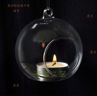 Free Shipping! 8CM 5PCS/LOT Flat Bottom Decorative Clear Glass Balls Hanging Glass Vase Candle Holder for Wedding