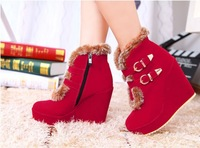 2013 Autumn and winter fur fashion boots red platform wedge high-heeled shoes women's ankle boots