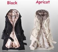 Hot Sale 2013!Faux fur lining women's winter warm long fur coat jacket clothes wholesale Free Shipping