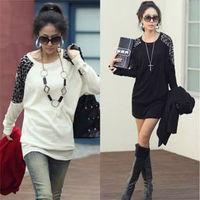 2014 autumn women's leopard patchwork long-sleeve loose shirt korean style round collar casual work wear blouse 80498