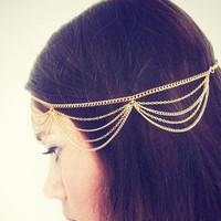 Free shipping 2014 new jewelry fashion wholesale tassel chain multi-layer hair band hair accessory headband female punk women