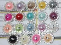 Free Shipping 16mm  Pearl Rhinestone Buttons Flatback wholesale ,60pcs/lot