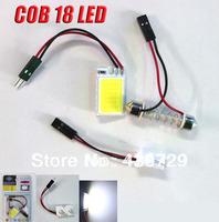 10sets/lot 3W COB Chip 18 led LED Car Interior Light T10 Festoon Dome BA9S Adapter 12V ,Wholesale Car Vehicle LED Panel