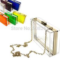 On Sale New European Famous Square Transparent Day Clutch Solid Fashion Party Evening Acryl Bag Women's Handbag 8 Colors PB01