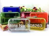 on Sale 2014 New European Transparent Day Clutch Solid Fashion Evening Acryl Bag Women's Handbag 5 Colors Good Quality PB02