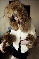 New 2013 Free Shipping New Design Faux Raccoon Rabbit Fur Coat Women Short Design Thick Spliced Fashion Winter mink fur coat