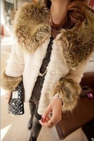 New 2013 Free Shipping New Design  Faux Rabbit Fur Coat Women Long Design Spliced Winter women's coats