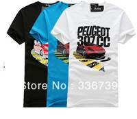 2013 New Arrival 3 Colors,Brand Men T-Shirts,Printing Sports Car O-neck t Shirt Cotton T Shirt ,Free Shipping,KY210