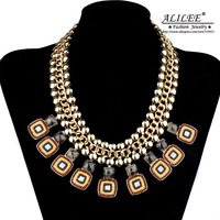High Quality ALILEE Jewelry Unique Necklaces For Women Fashion 18k Gold Plated Rhinstone+Resin Zinc Alloy  LN-0008 Free Shipping