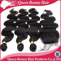 Brazilian virgin remy hair 1 Piece Lace Top Closure with 3Pcs Bundle 4pcs lot Body Wave Mixed length kabeilu fadianxiu products