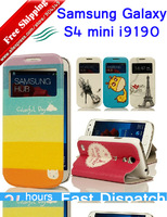 in Stock !!! Cartoon Colorful PU Leather Smart Cover Case for For Samsung Galaxy S4 Mini i9190 Phone Bags Fits Samsung i9192
