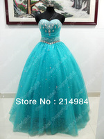Free Shipping Turquoise Strapless Sweetheart Ball Gown Wedding Dress With Crystal Beautiful Bridal Dresses 2014 New Design