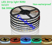 free shipping 10M X DC12V safe led strips smd 5050 5M 300leds 5M/roll Non-waterproof indoor decoration home dec R/Y/B/G/W/WW