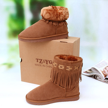 Botas sapatos shoes for women Boxed tassel boots snow boots winter boots fashion shoes autumn and winter warm shoes boots