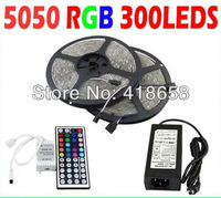 Best Price !!! CE&RoHs Flexible Led Strip Light Stripe RGB SMD 5050 300Leds 5m Waterproof + 44Keys IR Remote Controller