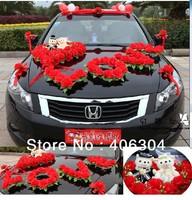 "Free shipping by EMS,1 set/lot,wedding car decoration set, RED,pink,purple ""LOVE "", wedding car flower, house decoration"