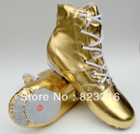Free Shopping The Gold And Silver Jazz Dancing Shoes Men's Modern Dance Shoes
