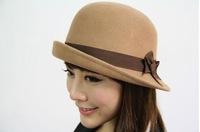 2 pcs/lot high quality woolen felt bucket hat cap new winter women cap fedora hat  red&camel coor free shipping