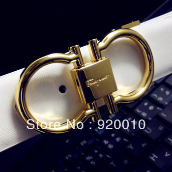Free Shipping 2013 Bright Round Buckle Genuine Leather Belt Men's Women's Belts 6 Styles 4Size