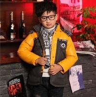 Winter Kids Down Parkas Boy Down Jacket Solid Color Boy Down Coat Boy Hooded Coat for 3-9T Children Free Ship