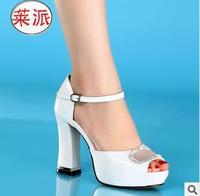 size34-39 2014 fashion women's open toe buckle genuine leather sexy rhinestone platform 11cm high-heeled sandals 2978
