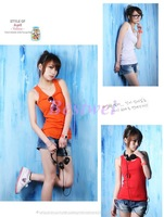 Free Shipping Candy Color Cotton 100% All-match Long Design Tank Basic Spaghetti Strap Vest