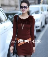 New Women long design slim knitted sweater dress with belt High Quality Rabbit fur Decorate o-neck Pullover sweater Knitwear