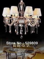 Free shipping E14*8 Cognac color contemporary chandeliers pendants Chandelier crystal D70*H100cm(include pendant chain 40cm)