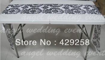 Free Shipping Flocking Taffeta White & Black Table Runner for Wedding,Party,Hotel