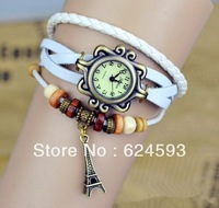 Sell like Hot cakes  /Retro watch for women Eiffel Tower Pendant item hours Bead Bracelet ladies Watches  Free shipping