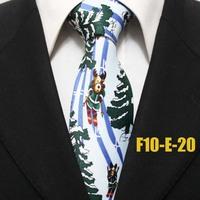 Festival Christmas Deer Skiing Pattern Mens Fashion Ties For Men Snow Trees Party Neckties For Man Gravatas F10-E-20