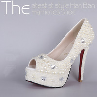 Hot Selling New 2014 110&140 mm Heels Women's High Quality Crystal Diamond Wedding Shoes Women Sexy Open Toe High Heels Pumps