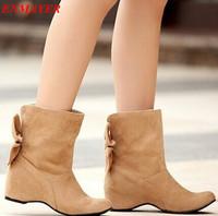 ENMAYER women's shoes snow boots bow ankle boots for women's large size 34-43 women's winter autumn boots