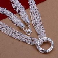 Lose Money!!Wholesale 925 Silver Necklace & Pendant,925 Silver Fashion Jewelry Multi-line 3 Circle Necklace SMTN264