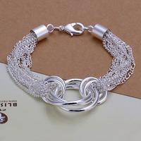 Lose Money!!Wholesale 925 Silver Bracelets & Bangles,925 Silver Fashion Jewelry Multi-line three circles Bracelet SMTH299