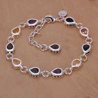 Lose Money!!Wholesale 925 Silver Bracelets & Bangles,925 Silver Fashion Jewelry Waterdrop Color Stone Bracelet SMTH260