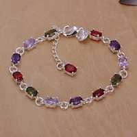 Lose Money!!Wholesale 925 Silver Bracelets & Bangles,925 Silver Fashion Jewelry Color stone Bracelet SMTH258