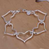 Lose Money!!Wholesale 925 Silver Bracelets & Bangles,925 Silver Fashion Jewelry five Peach Heart Bracelet SMTH252