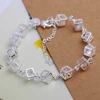 Lose Money!!Wholesale 925 Silver Bracelets & Bangles,925 Silver Fashion Jewelry Whitehead checkered Bracelet SMTH241